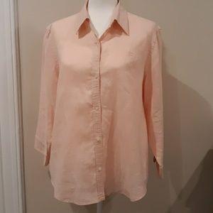 CHAPS Light Pink Linen Shirt-Xl